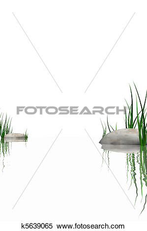 Stock Illustration of Stones & grass at waters edge k5639065.