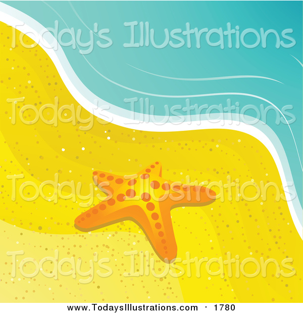 Clipart of a Starfish in the Sand at the Water's Edge on a Beach.