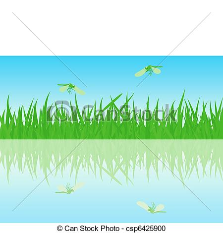 Vector Clipart of Beautiful summer waterside with dragonflies.