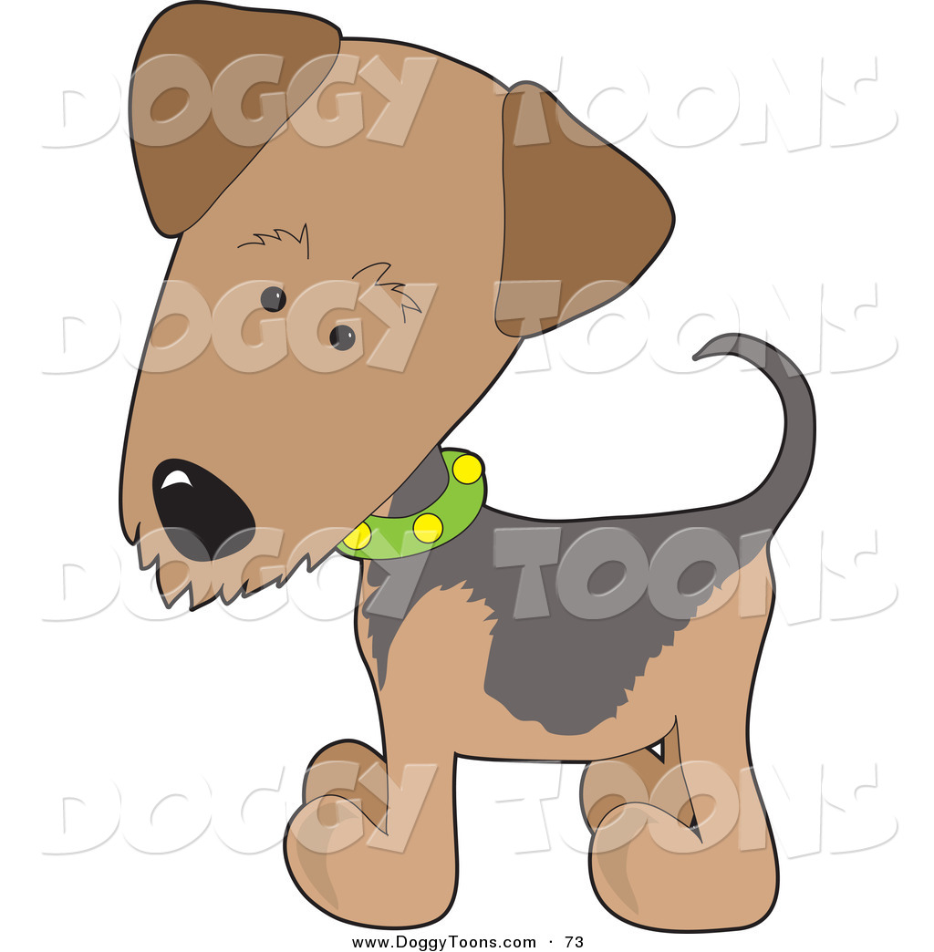 Doggy Clipart of an Airedale or Waterside Brown Terrier Puppy Dog.