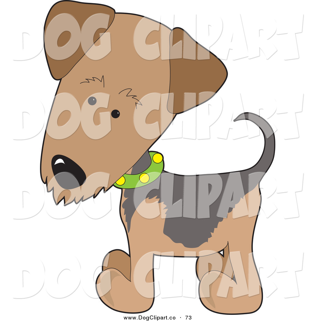 Vector Clip Art of a Brown Airedale or Waterside Terrier Puppy Dog.