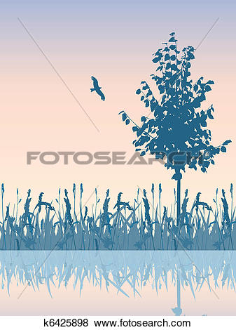 Clip Art of Beautiful sunset meadow waterside. k6425898.