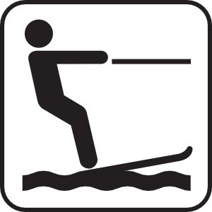Water Skiing White clip art.