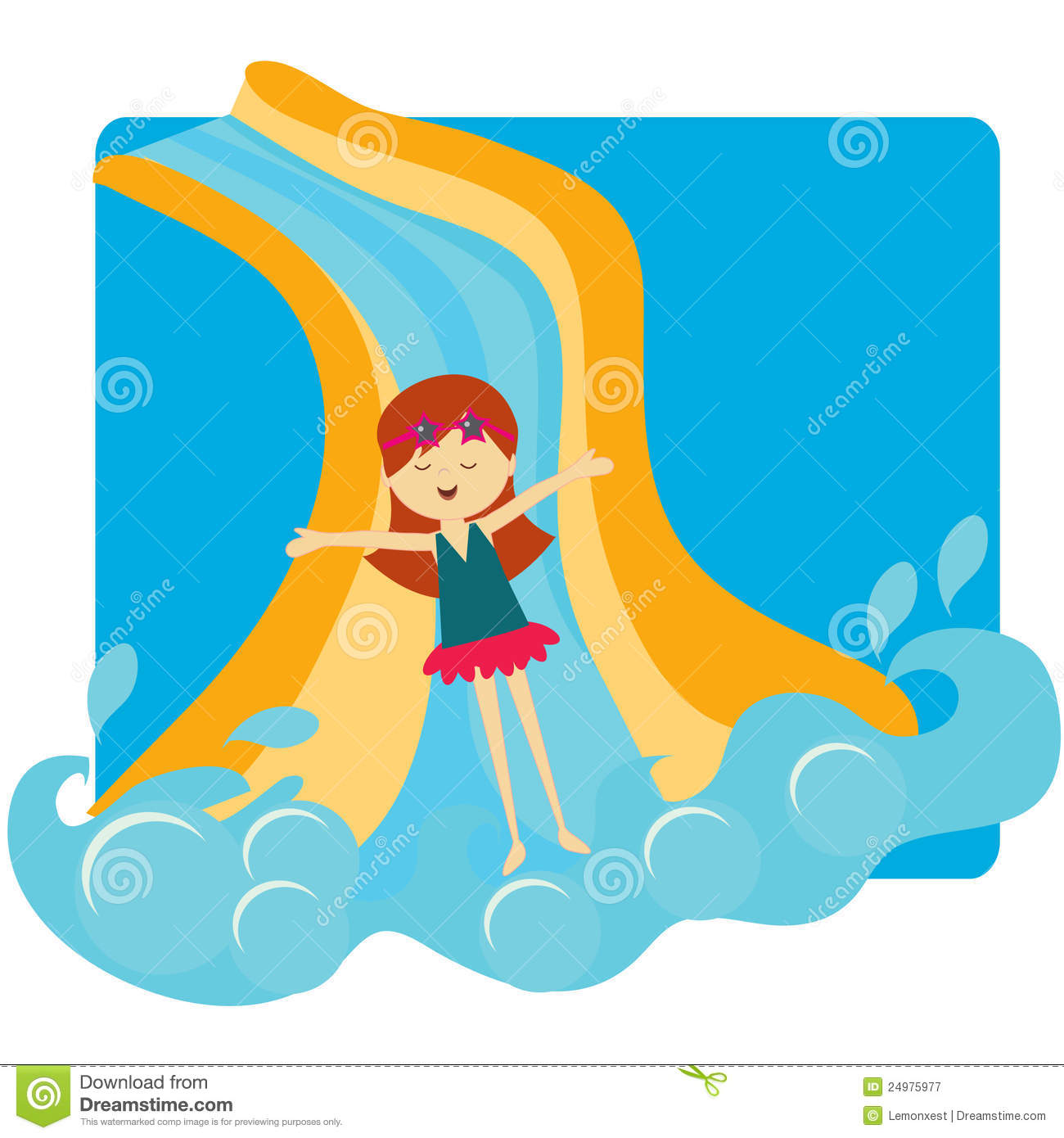 Water slide clipart girl.