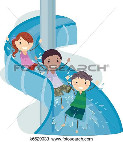 Water slide Clip Art Vector Graphics. 400 water slide EPS clipart.