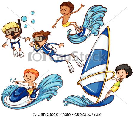 Watersports Clipart Vector Graphics. 260 Watersports EPS clip art.