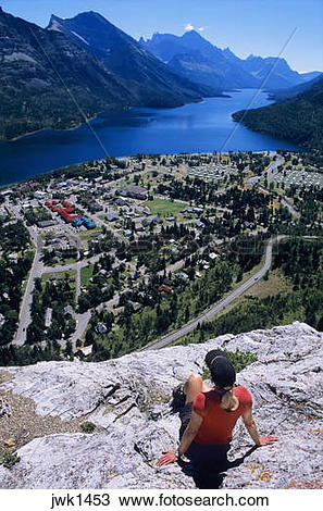 Stock Photo of Middle Waterton Lake and Waterton Townsite viewed.