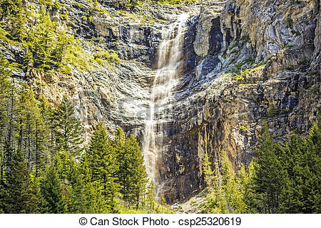 Stock Photography of Waterfalls at Waterton Park.