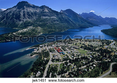 Stock Photography of Waterton Townsite and Waterton Lake viewed.