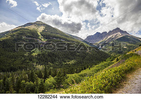 Stock Photo of Roadside view from the Akimna Parkway in Waterton.