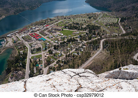 Stock Photography of Waterton Lake and townsite aerial view.
