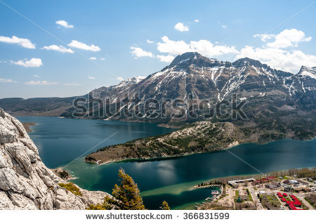 View Of Mount Vimy, Waterton Lake And Town.