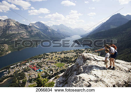 Stock Photo of Mother And Child Enjoy View At Waterton Lakes.