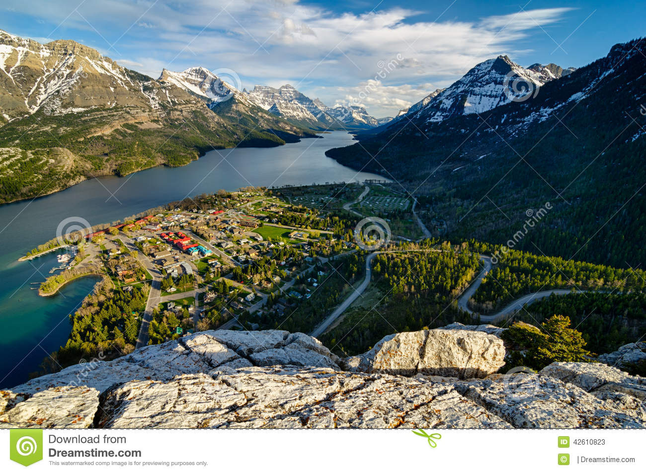 Waterton Lakes National Park Viewpoint Town Stock Photo.