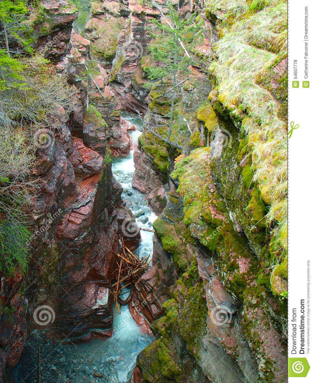 Red Rock Canyon, Waterton Lakes National Park Stock Photo.