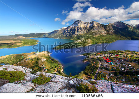 Waterton Lakes National Park In Canada Seen From The Bears Hump.