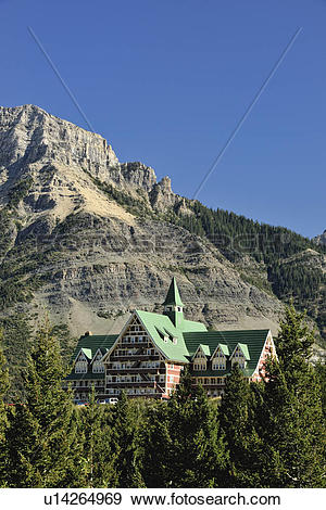 Stock Photograph of Prince of Wales Hotel, Waterton Lakes National.