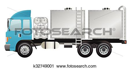 Clipart of Water truck with water cubic tunk k32749001.