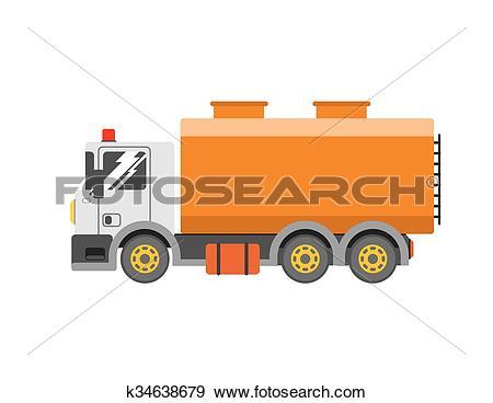 Clip Art of Water truck. liquid truck delivery. Vector tanker.