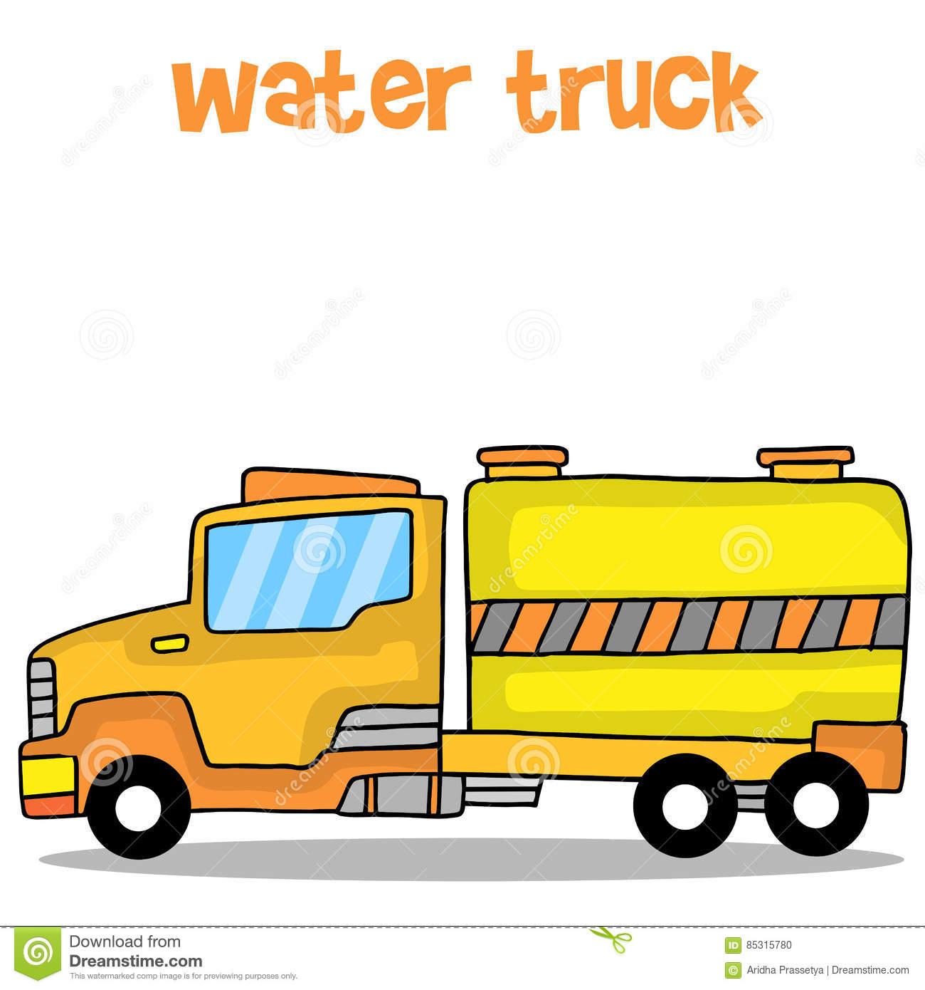 Transportation Of Water Truck Vector Art Stock Vector.