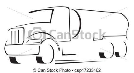 Clip Art Vector of vector Illustration of water truck.