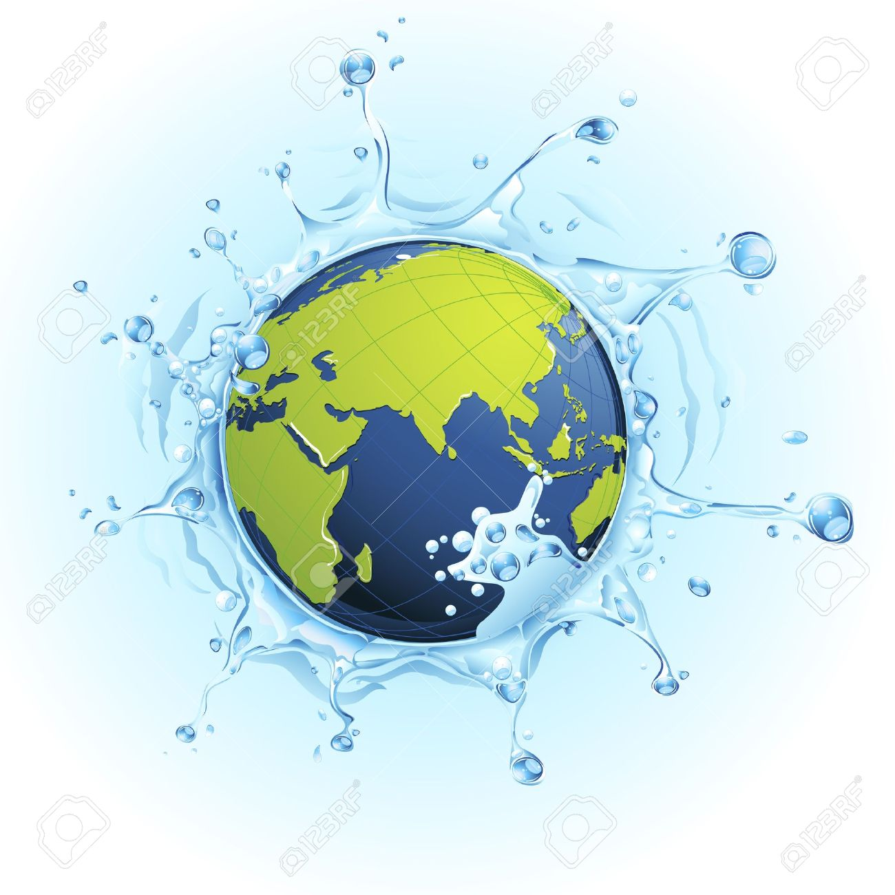 Illustration Of Earth In Splash Of Water On Watery Background.