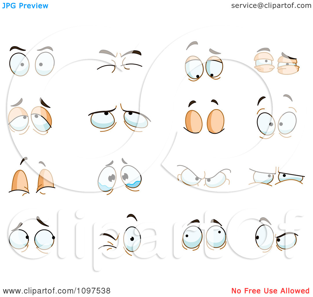 Clipart Sets Of Angry Puffy Closed Watery And Surprised Eyes.