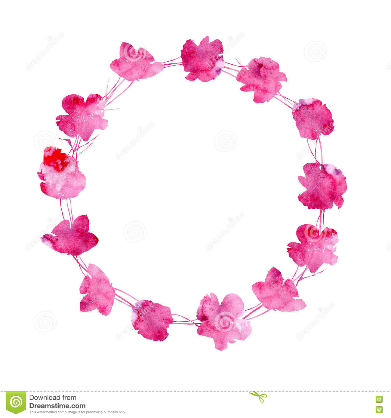 Garland With Poppy Flowers From Watery Stains. Stock Illustration.