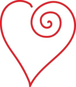 Heart Clipart Image: Clip Art Illustration a red outline of a.