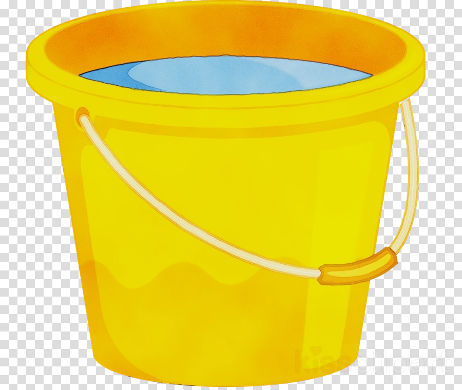 yellow plastic bucket cylinder waste container clipart.