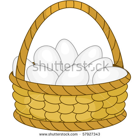 Wattled Easter Baskets Empty Chicken Eggs Stock Vector 123760966.