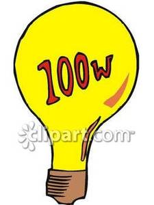 100 Watt Lightbulb.
