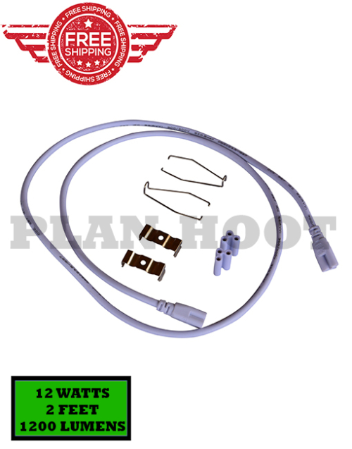 V Shaped Clear Lens, LED Flourescent Replacment, 6500K, 2FT, 12W.