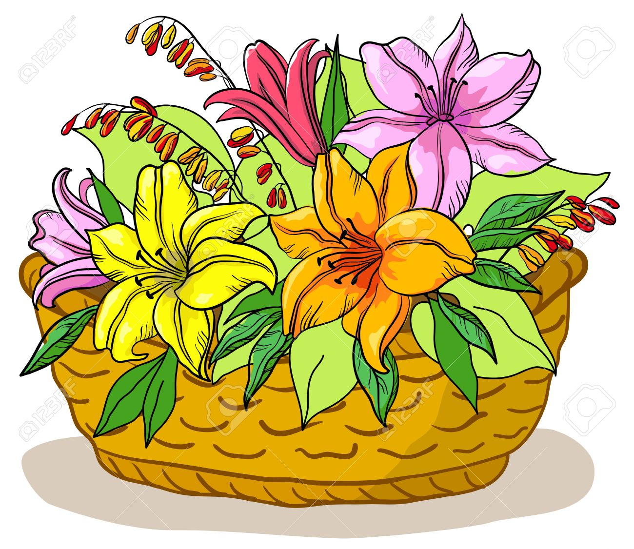 Showing post & media for Cartoon basket with flowers.