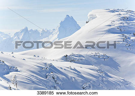 Stock Image of Winter landscape in Berchtesgaden Alps, Watzmann in.
