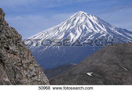 Pictures of Mountain peak covered with snow, Mt Damavand, Alborz.