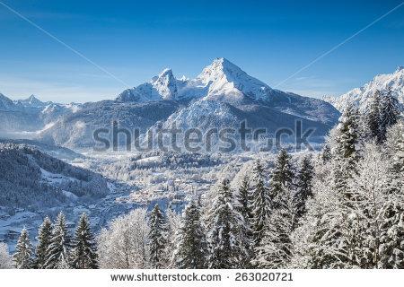 Winter Mountain Town Stock Photos, Royalty.
