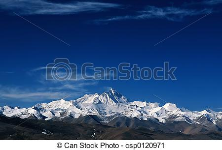 Stock Photography of Snow mountains in th.