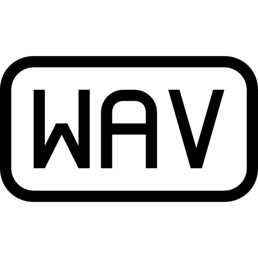Wav file type rounded rectangular outlined interface symbol.
