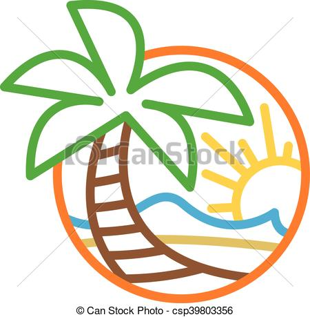 Summer Beach Waves Ocean Palm Tree.