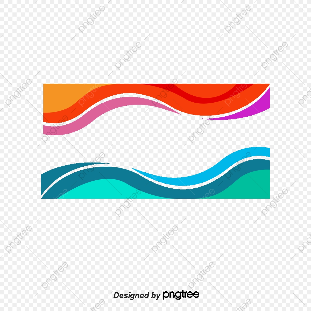 Red And Blue Wave Border, Vector Png, Wave Border, Color.
