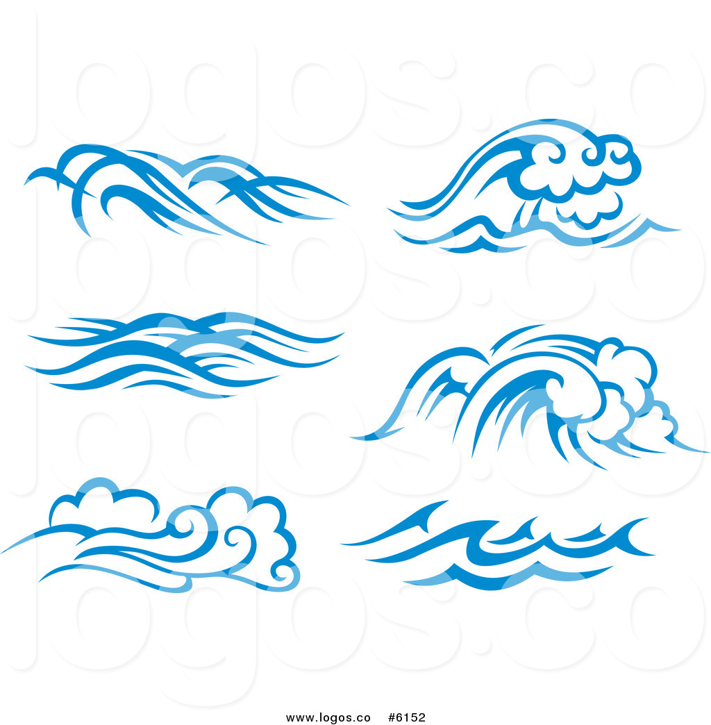 Royalty Free Clip Art Vector Logos of Blue and White Ocean.
