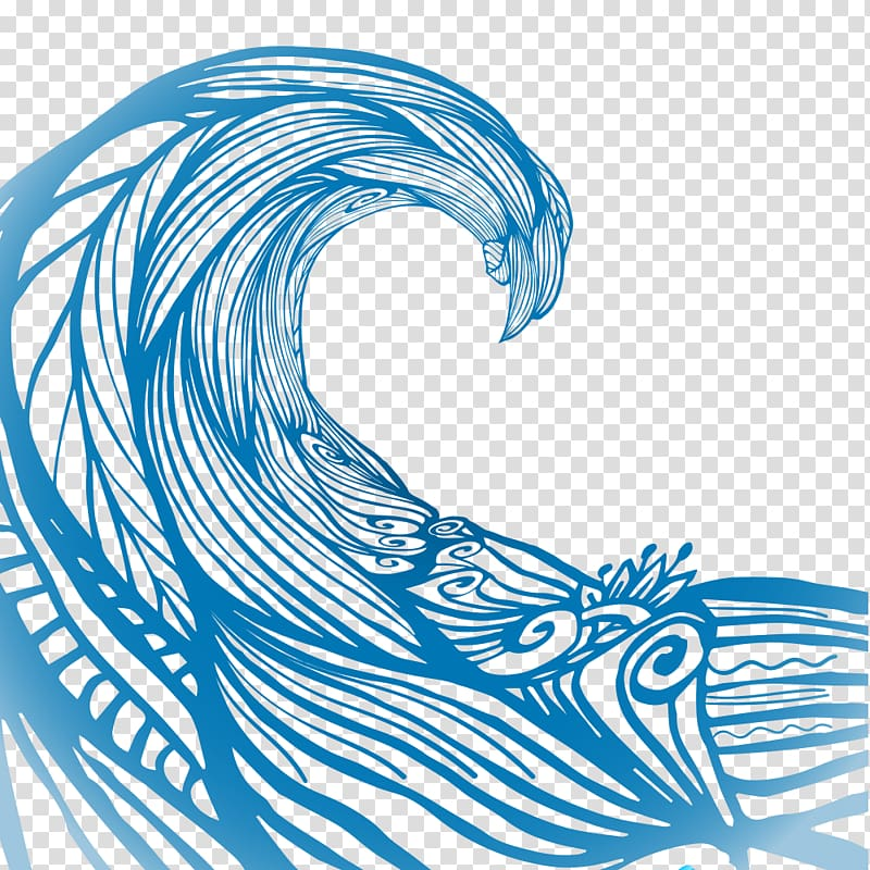 Blue ocean wave illustration, Wave Euclidean , Water ripples.