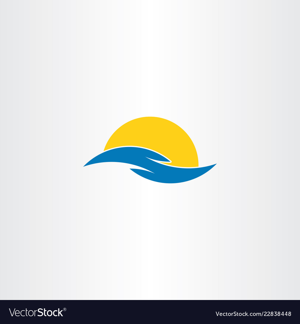 Tourism icon water wave sun symbol logo clip art.