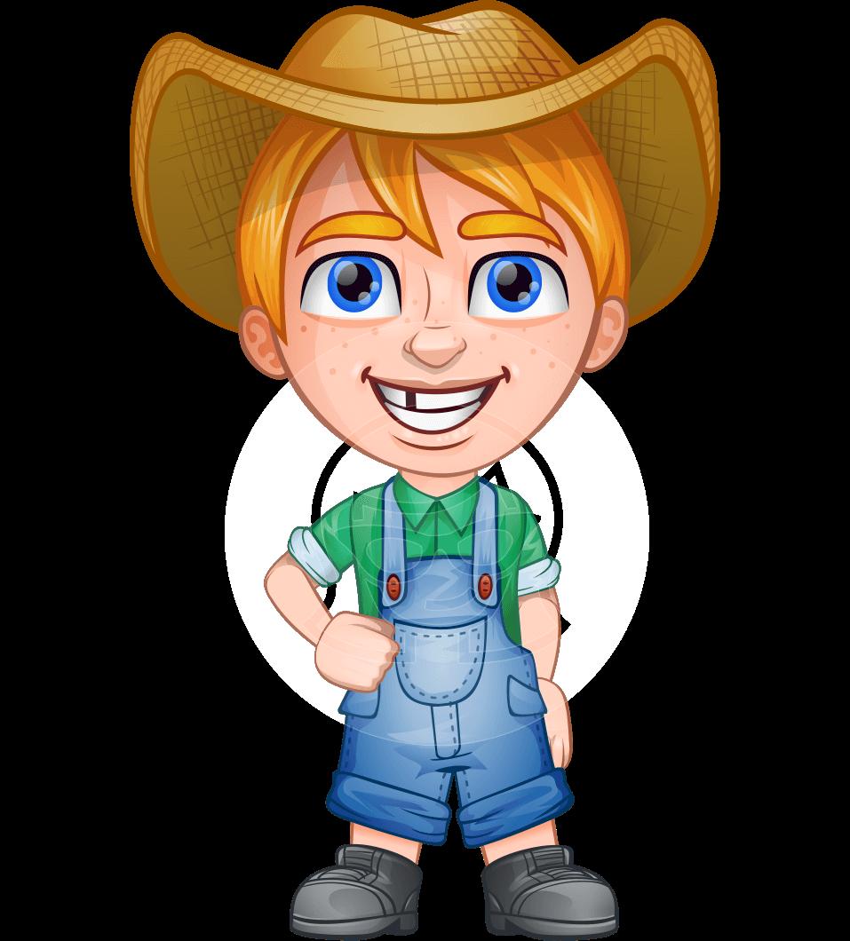 Little Farm Kid Cartoon Vector Character.