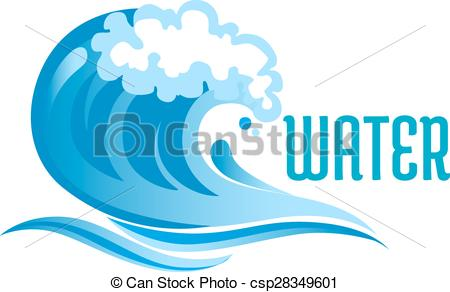 Vector Clipart of Blue ocean wave with foam bubbles and surf.