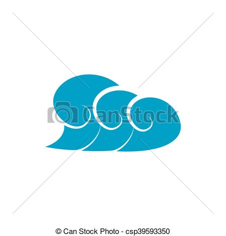 Clipart Vector of High ocean wave with foam icon, simple style.