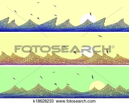 Clipart of Mosaic of wave with foam. k18628233.