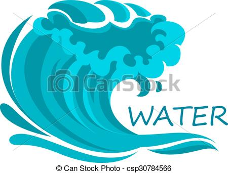 Clip Art Vector of Ocean wave symbol with foam and splashes.