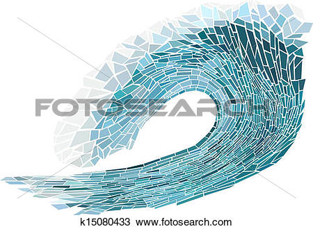 Clipart of Mosaic of wave with foam. k15080433.